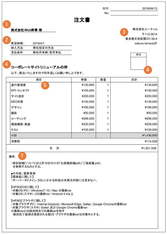 ホームページ制作の注文書(発注書)